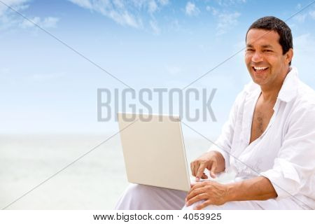 Beach Man On Laptop