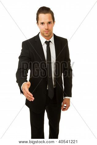 Business man ready to shake hands