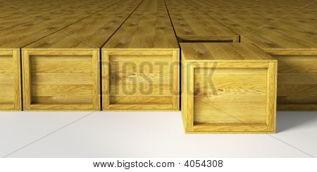 Warehouse With Multitude Wooden Crates