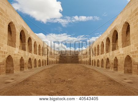 Ancient Castle Backyard Wall