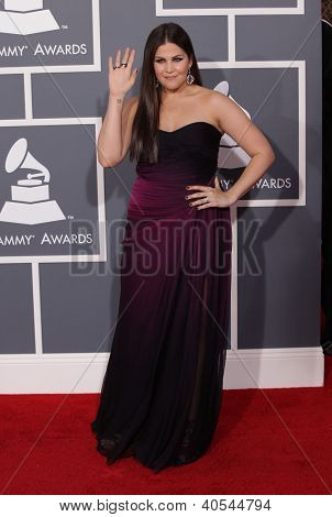 LOS ANGELES - FEB 12:  HILLARY SCOTT (Lady Antebellum) arriving to Grammy Awards 2012  on February 12, 2012 in Los Angeles, CA