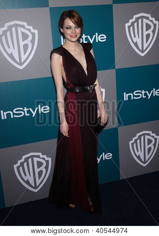 LOS ANGELES - JAN 15:  Emma Stone arriving to Golden Globes 2012 After Party: WB / In Style  on January 15, 2012 in Beverly Hills, CA