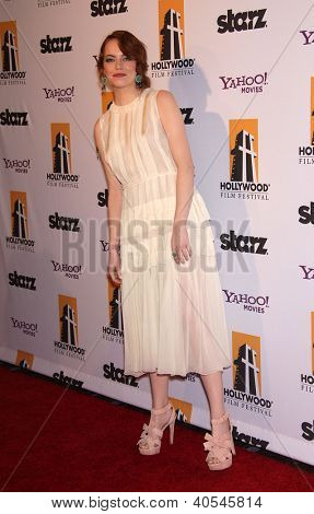 LOS ANGELES - OCT 24:  EMMA STONE arriving to 15th Annual Hollywood Film Awards Gala  on October 24, 2011 in Beverly Hills, CA