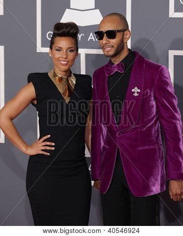 LOS ANGELES - FEB 12:  ALICIA KEYS & SWIZZ BEATZ arriving to Grammy Awards 2012  on February 12, 2012 in Los Angeles, CA