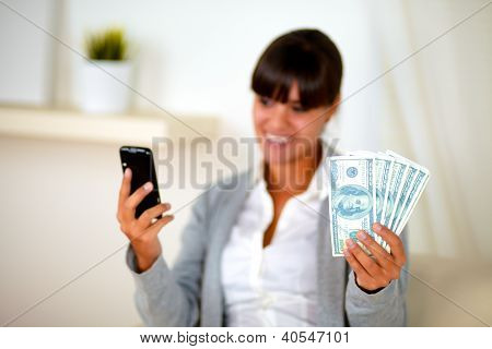 Charming Young Woman With Cash Money