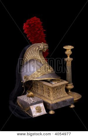French Helmet, Inkstand And Candlestick Composition