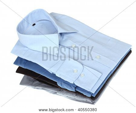 New blue and grey man's shirts, isolated over a white background