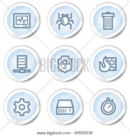 Internet segurança web ícones, luz azuis adesivos