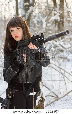 Young Lady With A Rifle