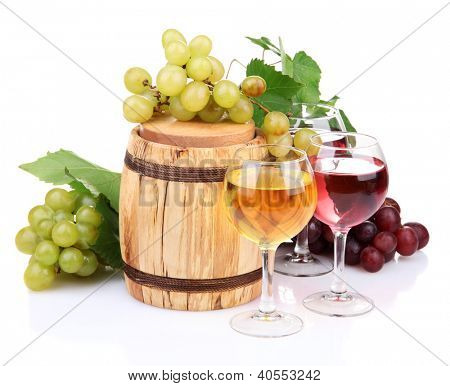 Barrel and glasses of wine, grapes, isolated on white