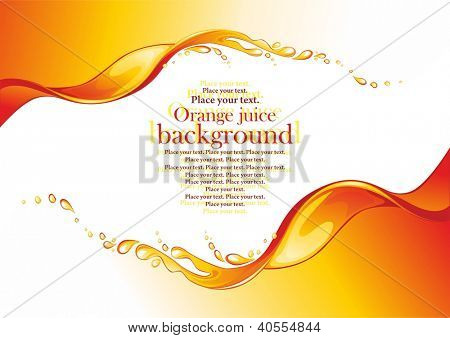 Orange juice frame. Splashes. Vector illustration.