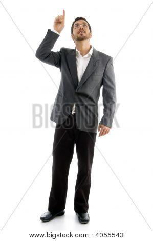 Standing Businessman Pointing Upward
