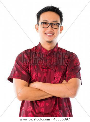 Chinese man in traditional Chinese Tang suit standing, isolated white background