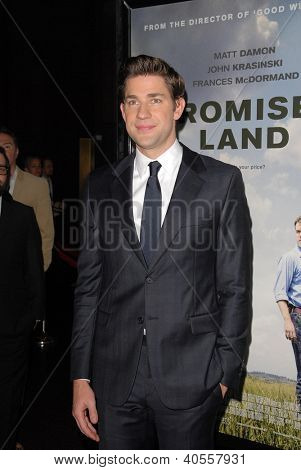 LOS ANGELES - DEC 6:  John Krasinski arrives at the 'Promised Land' Premiere at Directors Guild of America on December 6, 2012 in Los Angeles, CA