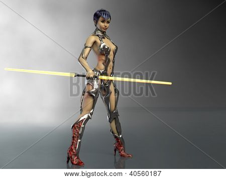 future warrior girl with double yellow lightsaber