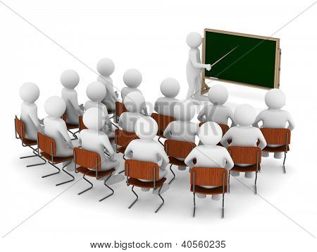 Lehrer mit Zeiger an die Tafel. Isolierte 3D-Bild