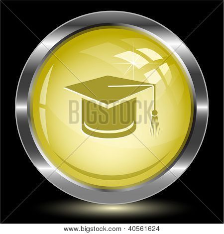 Graduation cap. Internet button. Vector illustration.