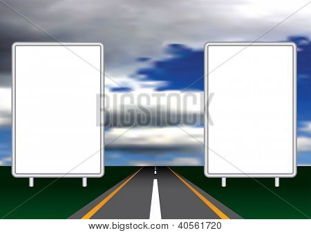 vector illustration with two blank billboards on open road