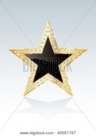 black golden star with diamond screws, vector template for cosmetics, show business or something else