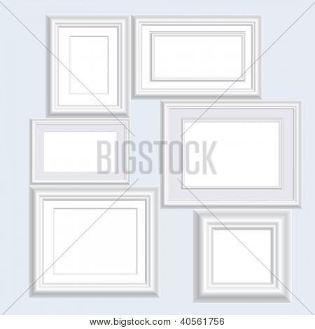 vector illustration of six blank white frames