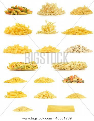 Variety of pasta from side isolated on white background