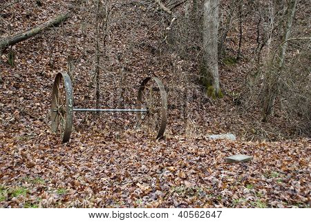 Old Wagon Wheels and Axle