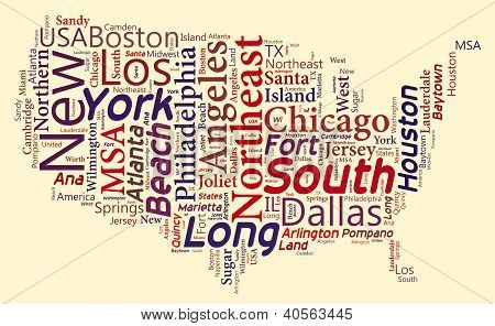 Word Cloud of USA Map
