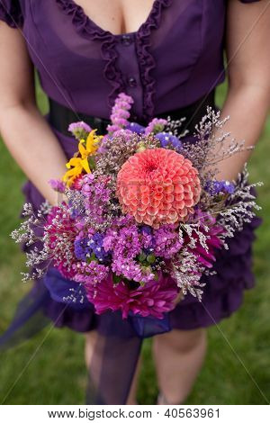 Bridesmaid Holding Bouquet