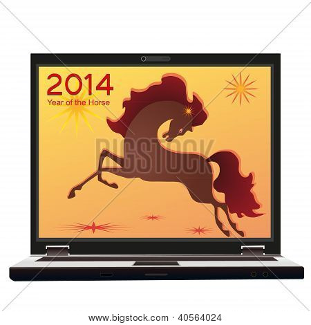 2014 New Year And Symbol Of The Horse On The Screen Of The Notebook.eps