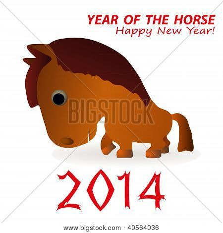 Funny Horse As A Synbol Of 2014 New Year.eps