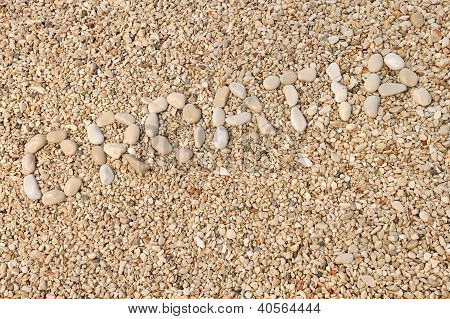 Croatia word made of pebbles, authentic picture of Hvar's beach