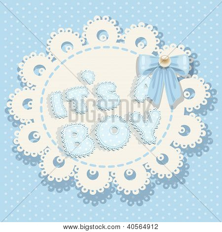 it`s a boy blue baby shower with openwork background and bow