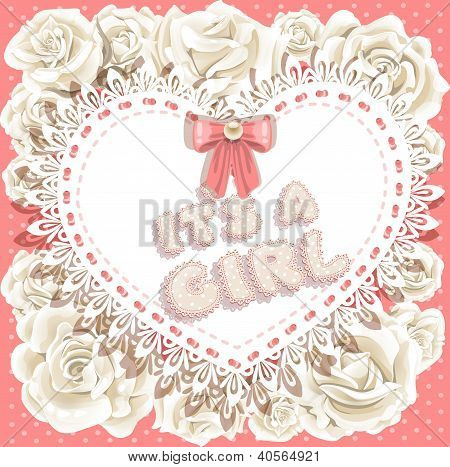 it`s a girl baby shower on heart and roses background