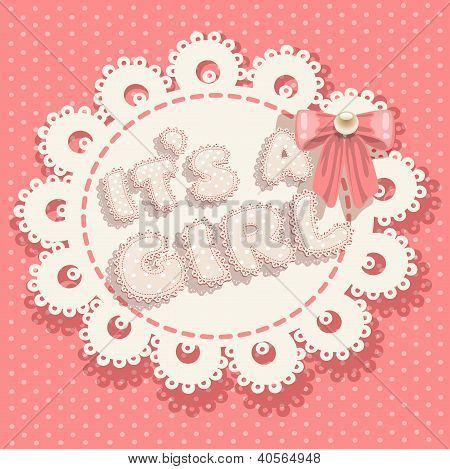 it`s a girl pink baby shower with openwork background and bow