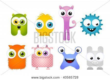 Set of Crazy Cartoon Mascot Monsters