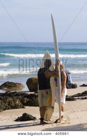 Surfers At Byron Bay Australia