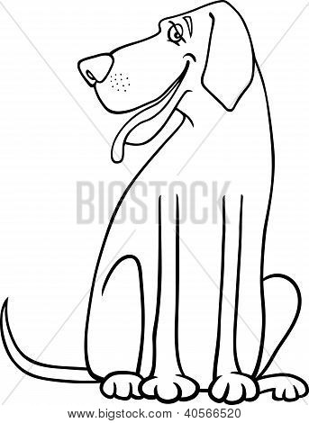 Great Dane Dog Cartoon For Coloring
