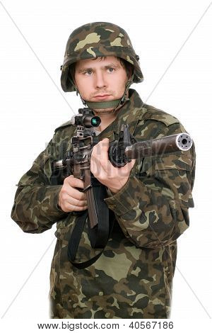 Armed Soldier Pointing M16. Upperhalf