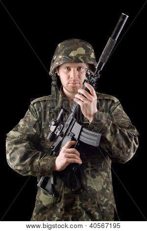 Alerted Soldier Raised M16 In Studio