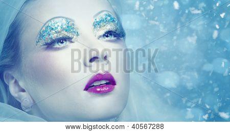 Lady Winter. Seasonal Female Portrait With Snowflakes