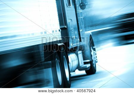 Semi Truck In Motion
