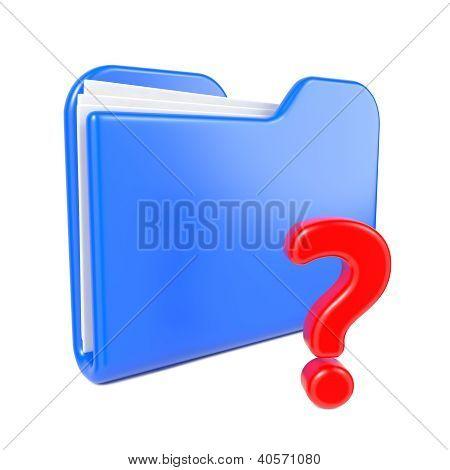 Blue Folder with Red Question Sign.