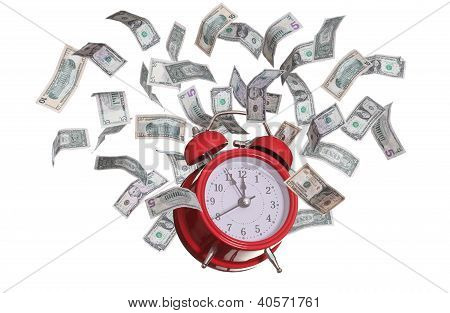 Alarmclock With Flying Dollars