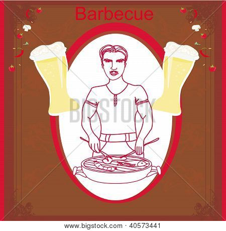 Man Cooking On His Barbecue. Vector Invitation