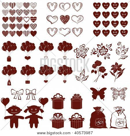 Valentine silhouettes, set