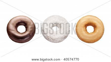 Three Donuts Isolated On White