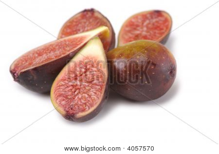 Fresh Figs And Leaf Isolated On The White Background