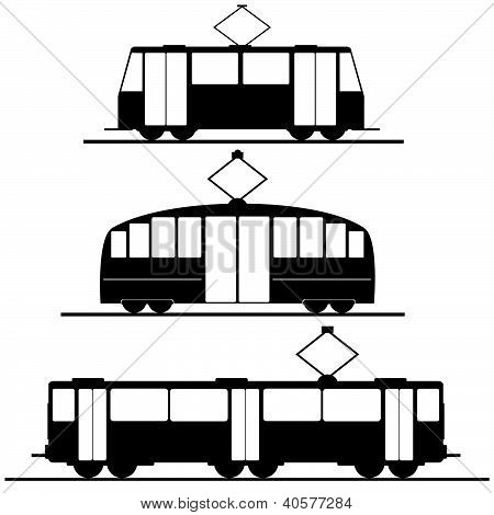 Trams And Trolleybuses Vector Illustration