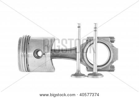 Used Piston With A Rod And Valves Isolated On A White Background