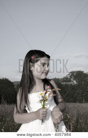 Young Girl With Wild Flowers